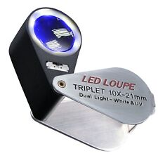 21mm Bijoutier Loupe 10x Œil Grossissement LED et lumière UV Lentille Triplet