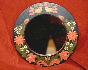 "VINTAGE Hungarian 9.75"" folk ART wood hand painted ROUND MIRROR chicken floral"
