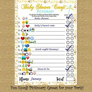 Baby Shower Games Fun Emoji Game 30 Cards for Girls Boys Baby Shower Party