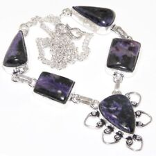 "Handmade Purple Lepidolite Gemstone 925 Sterling Silver 18"" Necklace #N01616"