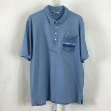 Travis Mathew Mens Golf Polo Shirt Light Blue Striped Pocket Size Xl