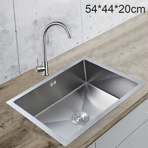 Stainless Steel Square Kitchen Undermount Sink Catering Single Bowl Drainer  UK