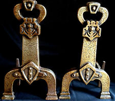 Antique c1910 Cast Iron Tudor Gothic Lions Shield Sheffield NY Andirons Firedogs
