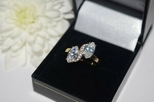 9ct White Gold Cubic Zirconia Marquise Cut Cluster Ring