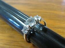 Women's S925 Sterling Silver Cubic Zirconia CZ 3-Stone Engagement Ring Size 8.25