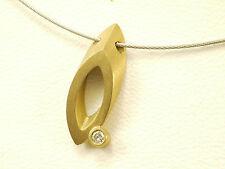 750  Gelbgold (18 Karat) mit echtem Diamant, 0,02 Karat, Collier, 40 cm lang