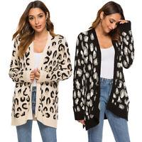 Women Long Sleeve Leopard Print Knitted Cardigan Open Front Sweater Outwear Coat
