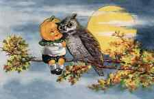 vintage art HALLOWEEN  Owl, with Pumpkin kid on Branch Full Moon