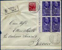 1950 -1949 - Raccomandata da Firenze resa franca con quartina Lire 25 Palladio
