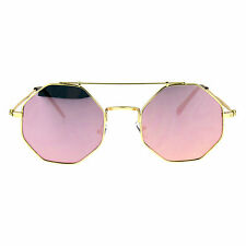 Mens Squared Octagon Mirror Color Lens Groovy Hippie Metal Rim Sunglasses
