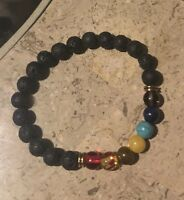 Black Lava Stone Essential Oil, Stretchy Yoga Bracelet