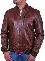 UK Men's All Leather Vintage Biker Jacket Brown Summer Retro Style Bomber Jacket