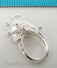 1x BRIGHT STERLING SILVER ROOSTER CHICKEN COCK LOBSTER CLASP BEAD 19.4mm #2055