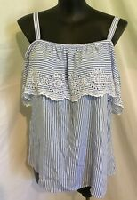 """AUTOGRAPH BLUE & WHITE CHAMBRAY """"STRIPE"""" EMBROIDERED  FLOUNCE TOP SZ 20-NEW"""