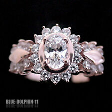 Genuine Solid 9ct Rose Gold Engagement Wedding Cluster Ring Simulated Diamonds