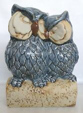 Blue Ceramic Sleeping Mother and Baby Owl Ornament * New *