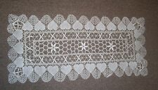 HEART Pattern WHITE CLUNY LACE Style RUNNER 14 in x 34 in Rectangle