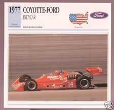 1977 Coyotte-Ford A.J. Foyt Indycar Race Car Photo Spec Sheet Info French Card