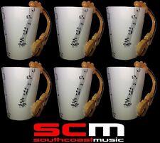 6 Set of VIOLIN VIOLA with MUSICAL NOTES COFFEE MUG CUP GIFT DRINKWARE
