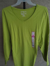 NWT WOMENS JUST MY SIZE ESSENTIALS  L/S  JERSEY KNIT V NECK TEE TOP CITRON 5X