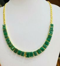 18K Solid Yellow Gold Pendant Necklace Natural Emerald 22.55GM(1989$)