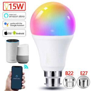E27/B22 RGBW Smart Light Bulb 15W Wifi LED Dimmable Lamp For Alexa Google Home
