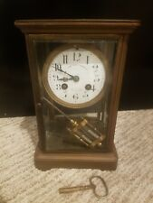 """ANTIQUE FRENCH CRYSTAL REGULATOR CLOCK WITH PENDULUM, 10""""  1889, not working"""
