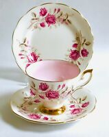 Afternoon Tea China Tea cup Trio Gilded Pink Roses Royal Standard Bone china