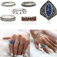 6pcs/Set Retro Midi Ring Boho Beach Vintage Tibetan Silver Rings Women Jewelry