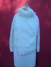 NWT Hale Bob White Front Rabbit Fur Hair Women Cardigan Coat Jacket  XS S M