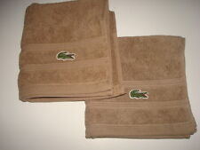 "2 LACOSTE BROWN HAND TOWELS 13"" x 13"""