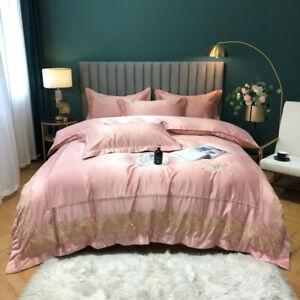 Embroidered Bedding bag 4pcs silk cotton duvet cover flat sheet 2 pillow shams