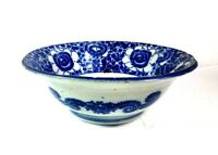 Antique Late 19th Chinese Century Blue And White Floral Ceramic Bowl 11""