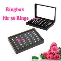 Ringbox Schmuckkasten Samt Ringdisplay Schaukasten Ringschachtel für 36 Ringe
