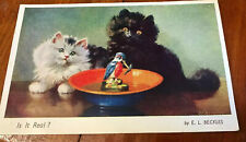 OLD POSTCARD.  Kittens And Kingfisher. Posted