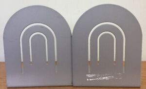 """Vintage Pair of Silver Gray Solid Metal Classic Desk Book Ends Bookends 6"""" Tall"""