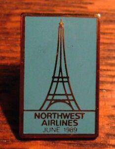 Northwest Airlines Pin - Rare Vintage 1989 Eiffel Tower Paris France Lapel Badge
