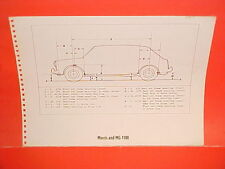 1967 MORRIS MG 1100 MGB MARK II GT ROADSTER COUPE SEDAN FRAME DIMENSION CHART