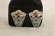 VINTAGE STERLING SILVER CLOISONNÉ ENAMELED BUTTON STYLE EARRINGS ARTIST SIGNED