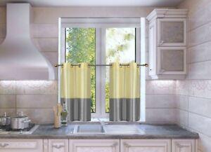 "2pc Short Kitchen Set 2-Tone Window Dressing Grommet Lined Curtain Tier EID 36"""