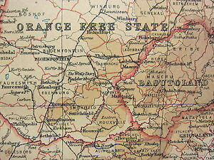 1921 LARGE MAP ~ SOUTH AFRICA ~ ORANGE FREE STATE CAPE PROVINCE NATAL RHODESIA
