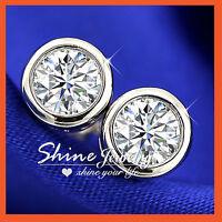 925 STERLING SILVER LAB DIAMOND MEN WOMENS GIRLS BEZEL ROUND STUD EARRINGS GIFT