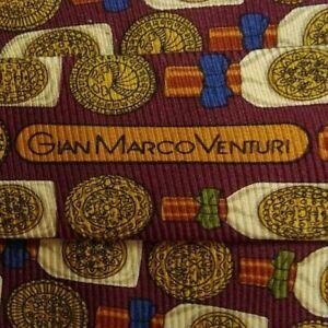 Burgundy Gold Foulard VENTURI Silk Tie