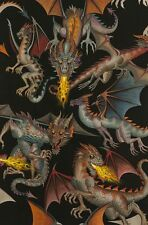 Tale of Dragons on Black By the yard Alexander Henry cotton fabric Large scale