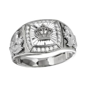 Men's Sterling Silver Square Shape Crown Ring w/ Cubic Zirconia Stones