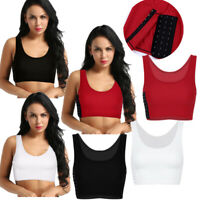 Buckle Chest Breast Binder Womens Sports Bra Short Vest Yoga Tank Top Blouse Top