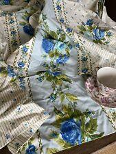 Vintage Mid Century Blue Rose Printed Cotton Drape Pair 🏠