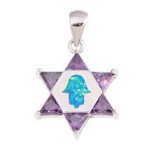 Women Gemstone Jewelry Pendant Od7016 Blue Fire Opal Amethyst Silver Plated