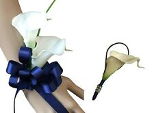 2pc Set - Calla Lily Wrist Prom Corsage and Boutonniere with Navy Blue Ribbon