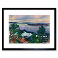 Painting Landscape Painting Edvard Munch Train Smoke Framed Art Print 12x16 Inch